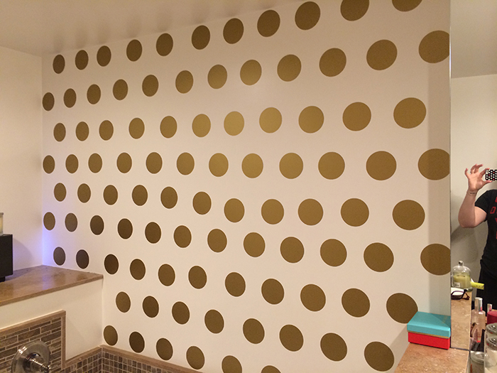 diy polka dot wall before