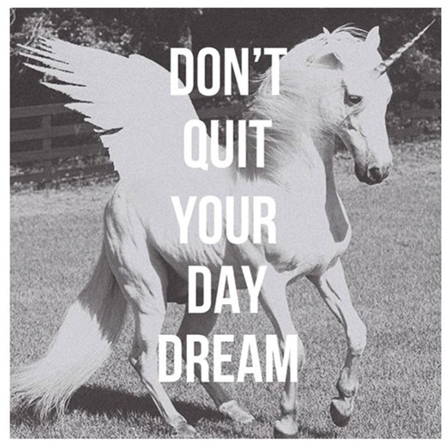 don't quit your daydream unicorn